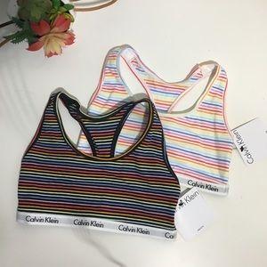 NWT Calvin Klein striped bralette - set of 2